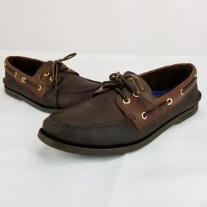 Sperry Top-Sider Brown Leather Boat Shoes Men's Si